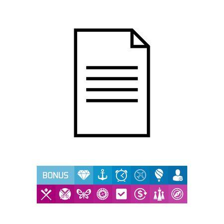 documentation: Icon of document with folded upper corner Illustration
