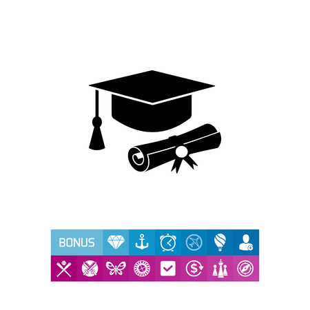 credentials: Diploma roll and graduate hat with tassel. Study, degree, knowledge. Education concept. Can be used for topics like education, teaching, training. Illustration