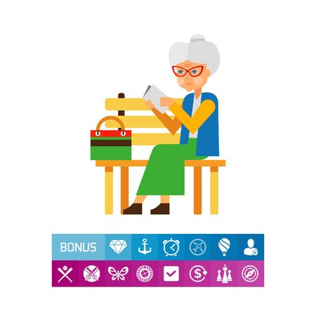Elderly woman sitting alone in park. Loneliness, age, old, people, reading. Loneliness concept. Can be used for topics like old people, loneliness, age