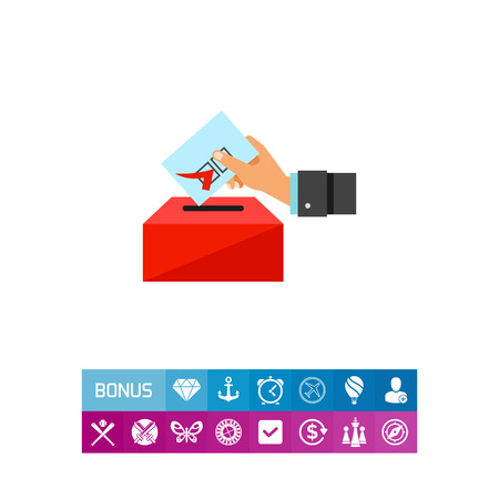 Hand putting voting paper into ballot box. Choice, government, candidate. Election concept. Can be used for topics like politics, democracy, sociology.