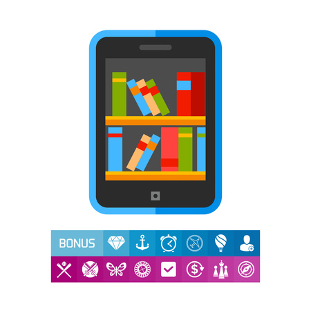 Multicolored vector icon of book shelves on mobile phone screen representing e-library