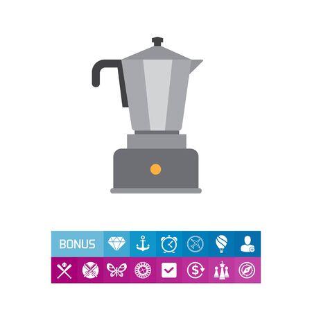 금속 항아리와에 스 프레소 커피 메이커의 벡터 아이콘