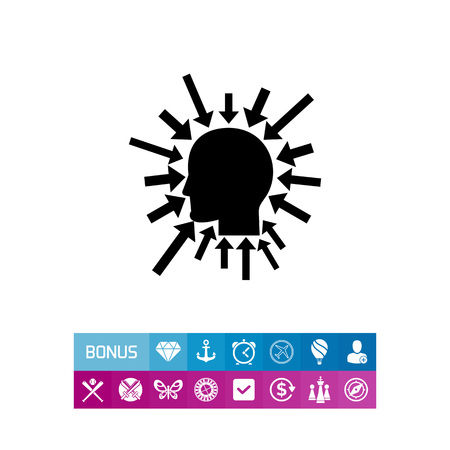 Executive manager icon. Vector illustration of head silhouette with coming thoughts Illusztráció