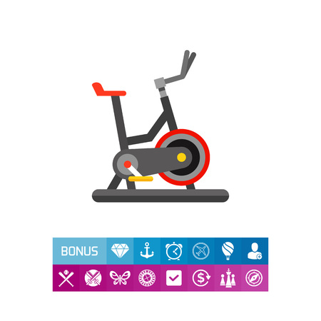 Grey exercise bike with red wheels and seat. Cycling, exercising, indoor. Exercise bike concept. Can be used for topics like sport, health, athletics.