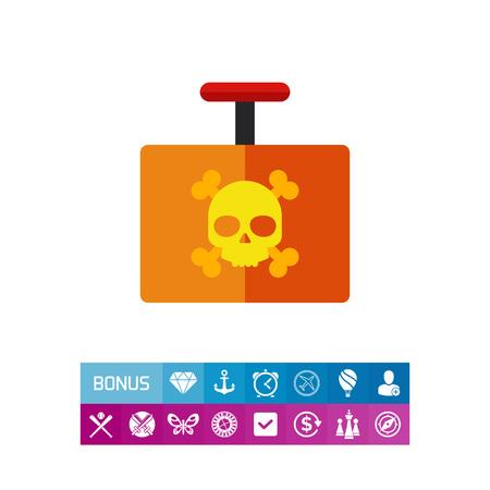 Multicolored vector icon of explosive detonator with danger sign