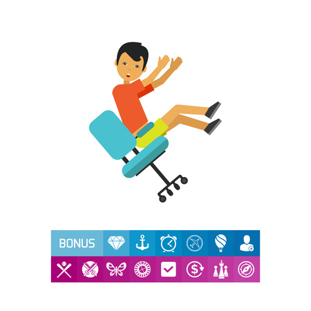 workplace stress: Falling from Chair Flat Icon Illustration