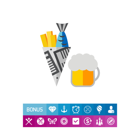 Beer with fish and chips. Drinking, pub, national. Pub concept. Can be used for topics like England, traditions, food. Illustration
