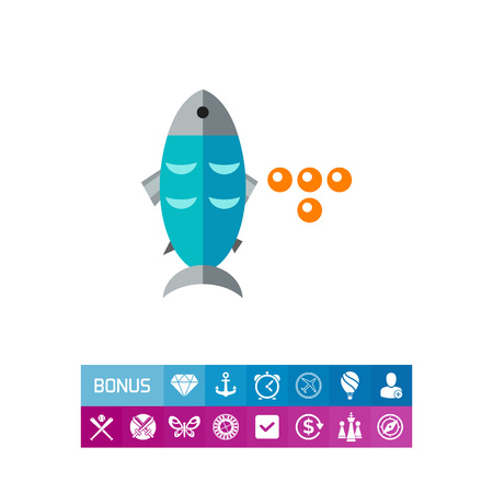 four objects: Fish and Caviar Icon Illustration