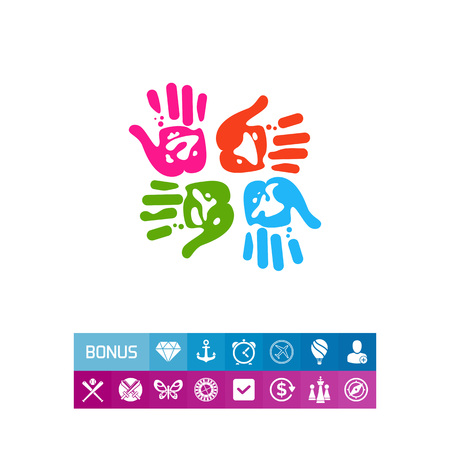 Illustration of four colorful handprints with different orientations. Human hands, design, creativity. Handprints concept. Can be used for topics like design, art, creativity