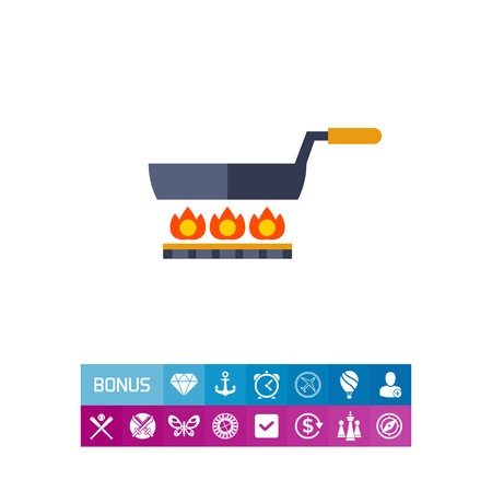 small tools: Multicolored vector icon of frying pan standing on gas cooker Illustration