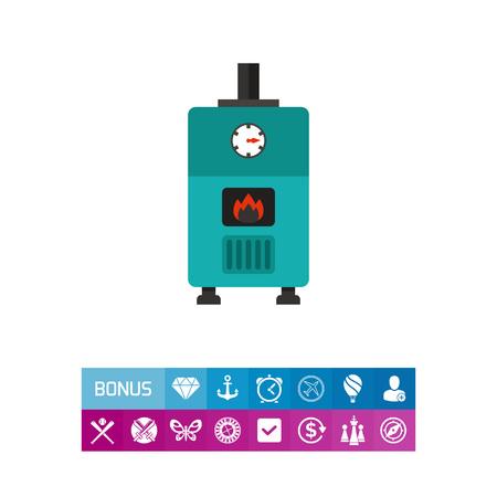 熱インジケーターが付いているガス ボイラーの色とりどりのベクトルのアイコン  イラスト・ベクター素材