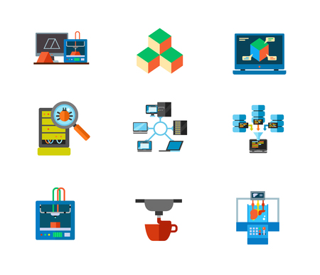 inspect: 3d-printing and Data center icon set Illustration