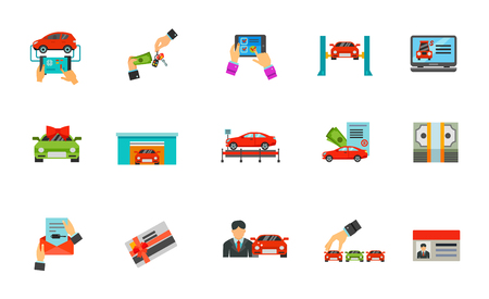 purchasing manager: Auto business icon set
