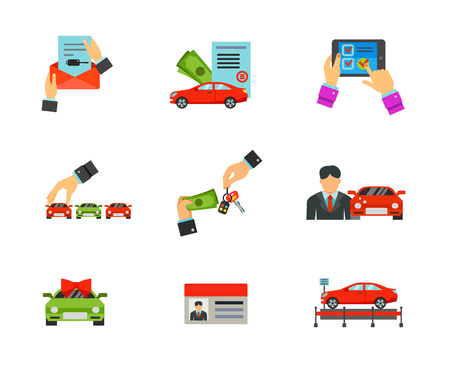 touchpad: Car dealership icon set Illustration
