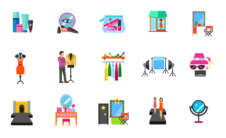hangers: Fashion industry icon set Illustration