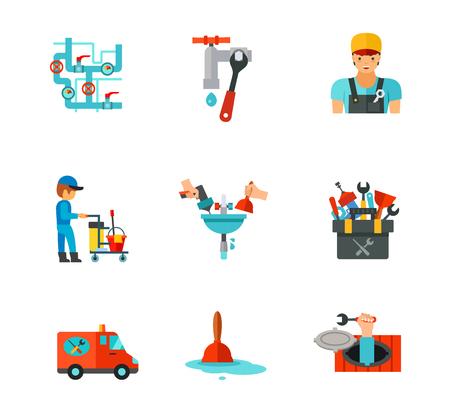 canalization: Plumber icon set Illustration