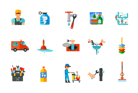 Plumbery and Cleaning icon set Illustration