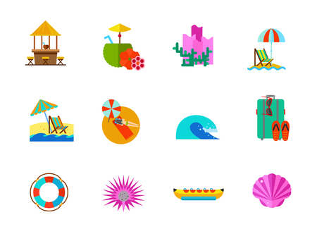 Sea vacations icon set Illustration