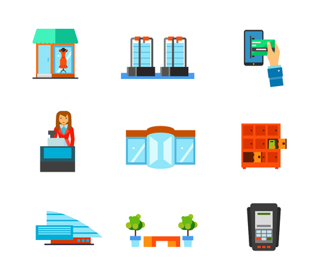 cashless payment: Shopping mall icon set