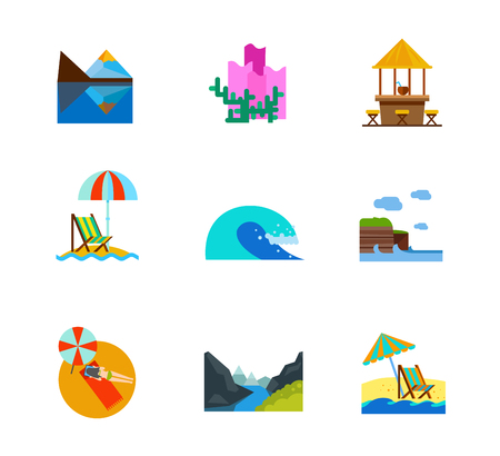 reclining: Vacation and Sea icon set