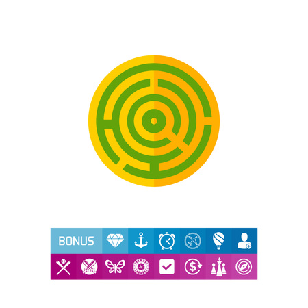 Round maze. Game, puzzle, solving. Challenge concept. Can be used for topics like business, management, banking, finance, analysis, games.