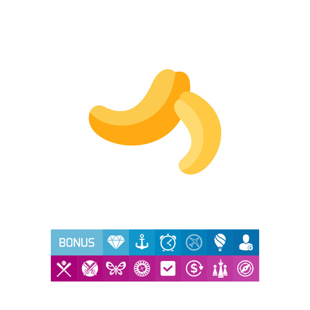 Multicolored vector icon of two cashew nuts