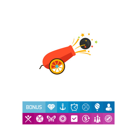 Icon of circus cannon shooting ball