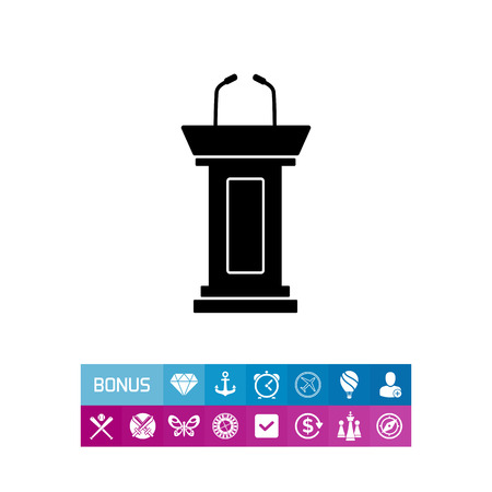 tribune: Vector icon of empty podium with two microphones for political debate