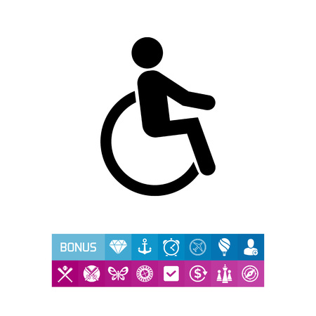 invalid: Disabled person in wheelchair. Injury, care, transport. Disabled concept. Can be used for topics like medicine, health, marketing.