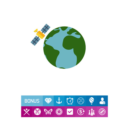Multicolored vector icon of Earth globe and satellite