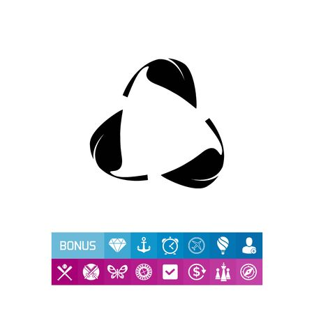 Monochrome vector icon of recycle sign with leaves instead of arrows representing ecology concept Illustration