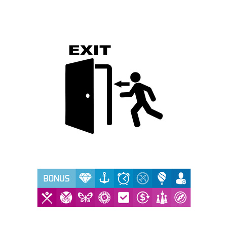 way out: Emergency exit simple icon Illustration