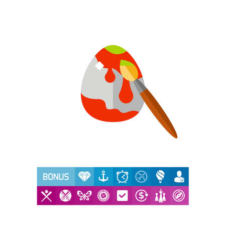 dipped: Easter egg with brush flat icon