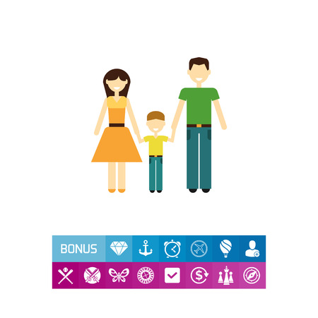 Icon of traditional family consisting of man, woman and one child