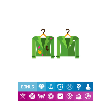 messy clothes: Dirty and clean jackets on hangers. Textile, stain, experiment. Washing concept. Can be used for topics like chemistry, housekeeping, fashion. Illustration