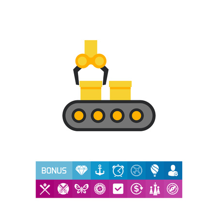 Vector icon of conveyor belt with boxes and industrial robot Иллюстрация