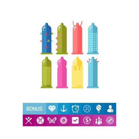 Condom Set Icon Фото со стока - 82023949