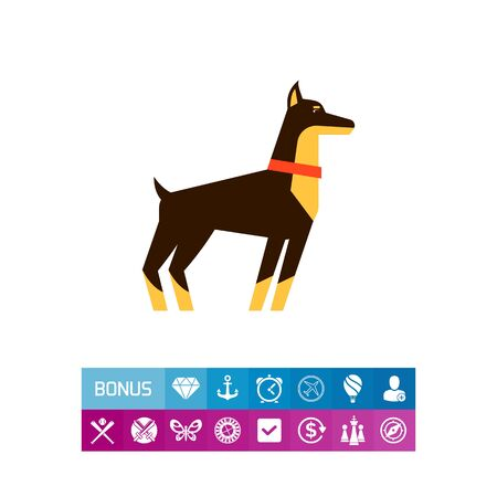 Doberman dog icon Illustration