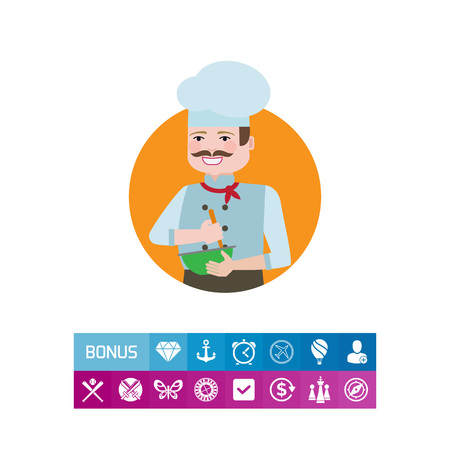 Male character, portrait of male chef with moustache, mixing ingredients in bowl