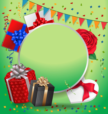 postcard box: Blank greeting card with round frame, gifts and garland. For greeting cards, posters, leaflets and brochures.