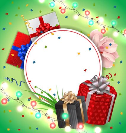 Tarjeta de felicitación y marco redondo en blanco Foto de archivo - 82034269