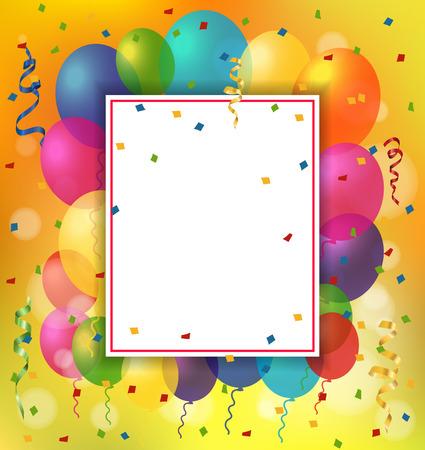 Lege wenskaart met vel papier en ballonnen. Voor wenskaarten, posters, folders en brochures. Stock Illustratie