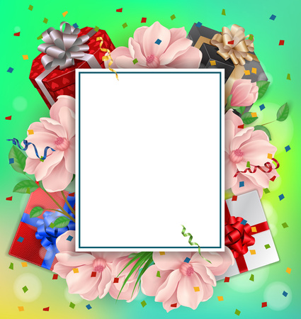 Blank greeting card with paper sheet gifts and flowers for blank greeting card with paper sheet gifts and flowers for greeting cards posters m4hsunfo