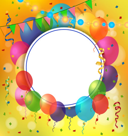 streamers: Blank greeting card with round frame, balloons and garland. For greeting cards, posters, leaflets and brochures.