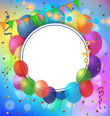 Carte de voeux vierge avec cadre rond, des ballons et des guirlandes. Pour les cartes de v?ux, les affiches, les dépliants et les brochures. Banque d'images - 82029886