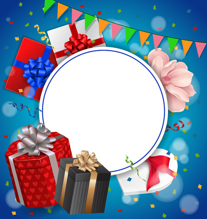 streamers: Blank greeting card with round frame, gifts and garland. For greeting cards, posters, leaflets and brochures.