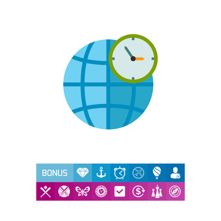 timezone: Globe and Clock Showing World Time Icon