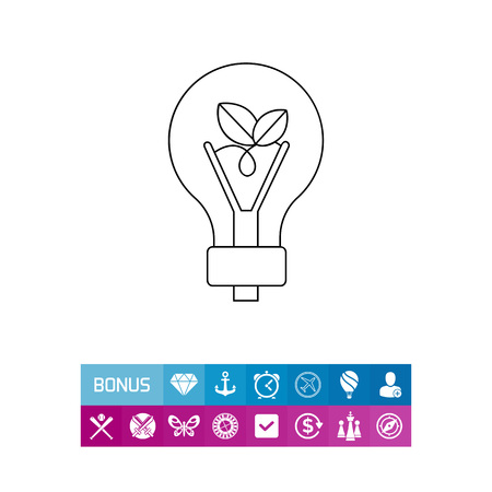 Green Energy Concept and Light Bulb Icon Illustration