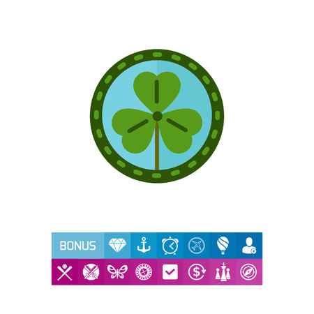 clovers: Green shamrock leaf  icon Illustration