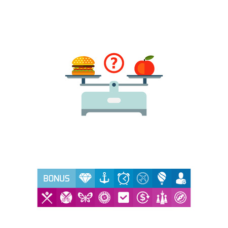 scale: Vector icon of hamburger and red apple on scales cups Illustration